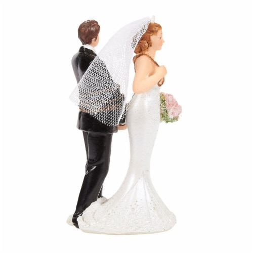 Juvale Fun Wedding Couple Figures Decorations Cake Topper - Bride Tied up Groom Figurines Perspective: top