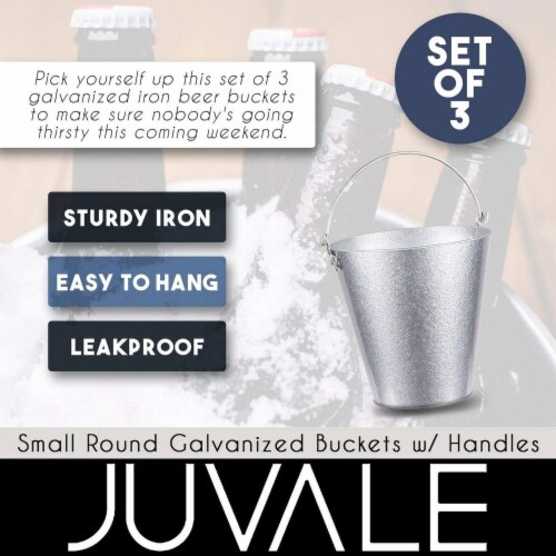 Juvale 3-Pack Galvanized Metal Ice Bucket Pails for Drinks, and Party Decorations, 7 Inches Perspective: top
