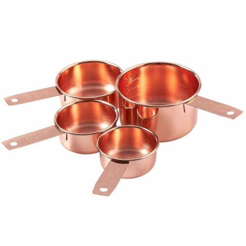 4-Piece Set of Stainless Steel Copper-Plated Measuring Cup Set for Baking, Cooking Perspective: top