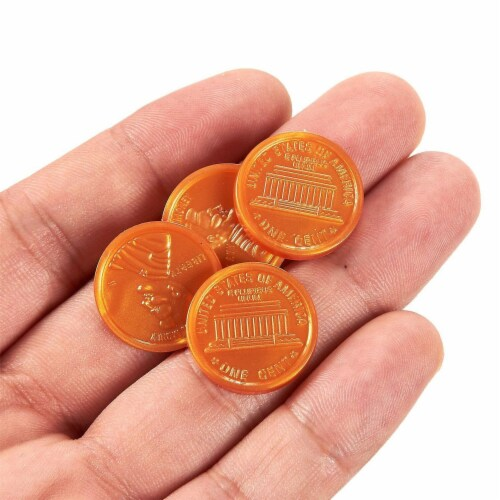 200 Fake Plastic Penny Coins Novelty Pirate Play Toy Prizes Parties Copper Color Perspective: top