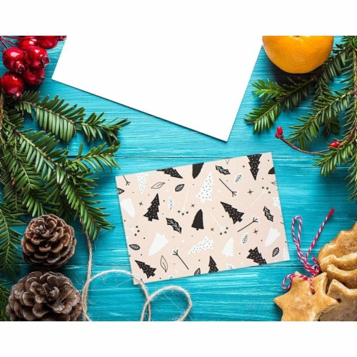 Modern Festive Christmas Cards with Envelopes, Winter Holiday Designs (4 x 6 In, 48 Pack) Perspective: top