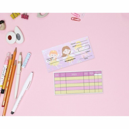 150-Sheet Checkbook Play Set Educational Toy for Kids, Unicorn and Fairy Theme Perspective: top