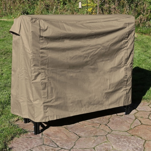 Sunnydaze Log Rack Cover Waterproof Polyester with PVC Backing - Khaki - 5' Perspective: top