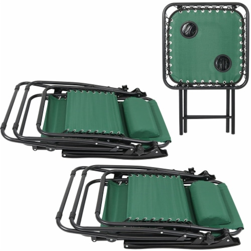 Sunnydaze Zero Gravity Lounge Lawn Chair and Side Table Set - Forest Green Perspective: top