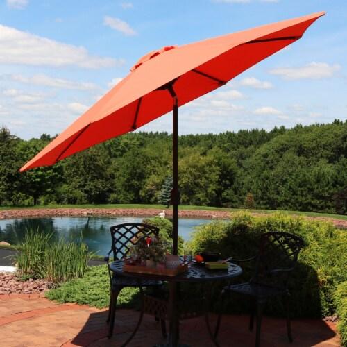 Sunnydaze 9' Fade Resistant Outdoor Patio Umbrella with Auto Tilt - Burnt Orange Perspective: top