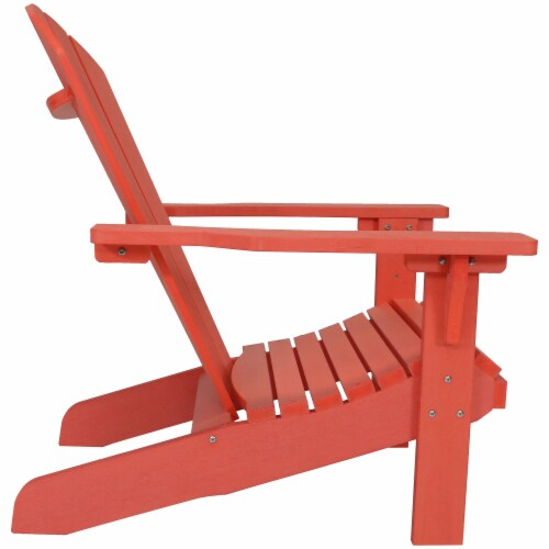 Sunnydaze All-Weather Outdoor Patio Adirondack Chair w/ Faux Wood Design -Salmon Perspective: top