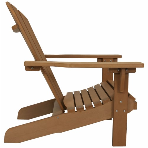 Sunnydaze All-Weather Patio Adirondack Chair with Faux Wood Design - Brown Perspective: top