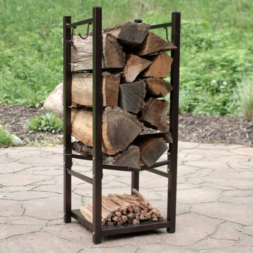 Sunnydaze Log Rack with Tool Holders Steel with Bronze Finish Firewood Storage Perspective: top