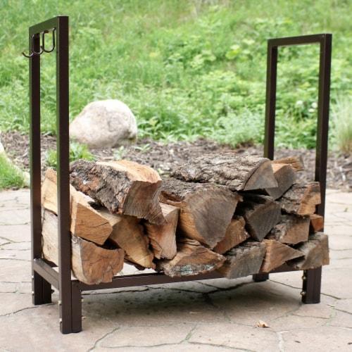 """Sunnydaze Log Rack 30"""" Steel with Bronze Finish Indoor-Outdoor Firewood Storage Perspective: top"""