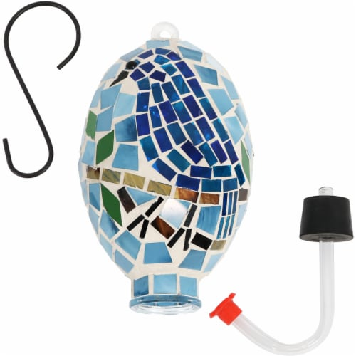 "Sunnydaze Outdoor Hanging Hummingbird Feeder Outdoor Mosaic Glass Bluebird - 6"" Perspective: top"