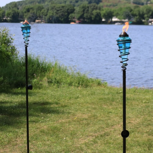 Sunnydaze 2-in-1 Metal Swirl with Blue Glass Outdoor Lawn Torch - Set of 2 Perspective: top