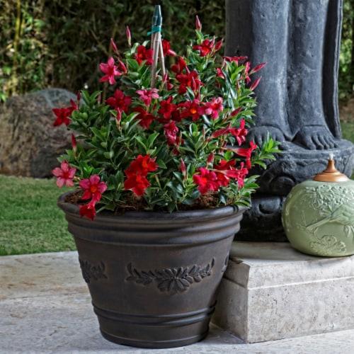 "Sunnydaze Laurel Outdoor Double-Walled Flower Pot Planter - Rust - 13"" - Single Perspective: top"