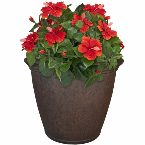 "Sunnydaze Anjelica Outdoor Double-Walled Flower Pot Planter - Rust -24""- Single Perspective: top"