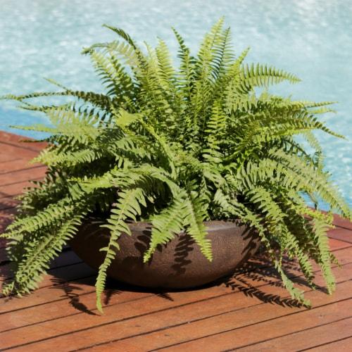 "Sunnydaze Percival Outdoor Double-Walled Flower Pot Planter - Sable -21""- Single Perspective: top"