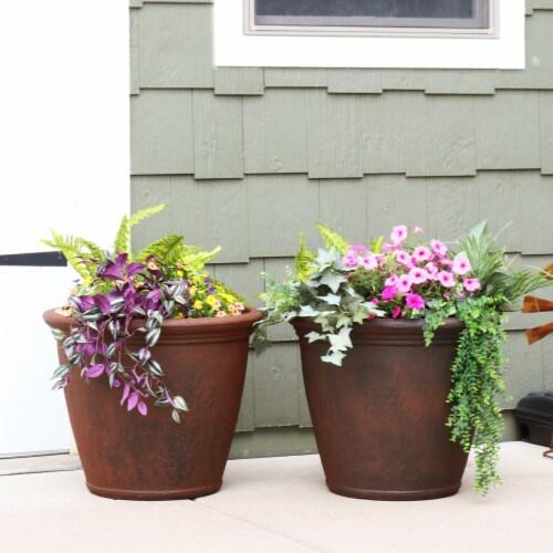 Sunnydaze Anjelica Outdoor Flower Pot Planter - Rust Finish - 24-Inch - 4-Pack Perspective: top