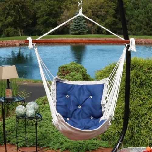 Sunnydaze Tufted Victorian Hammock Chair Swing - 300-Pound Limit - Navy Blue Perspective: top