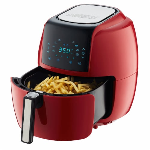 GoWISE USA 5.8-QT 8-in-1 Digital Air Fryer, Chili Red Perspective: top