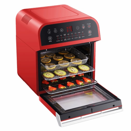 GoWISE USA Deluxe 12.7-Quarts 15-in-1 Electric Air Fryer Oven, Red Perspective: top