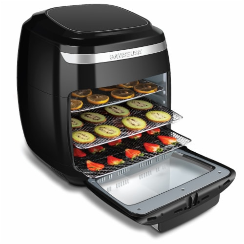 GoWISE USA 11.6-Quart Air Fryer Toaster Oven, Vibe, Black/Silver Perspective: top