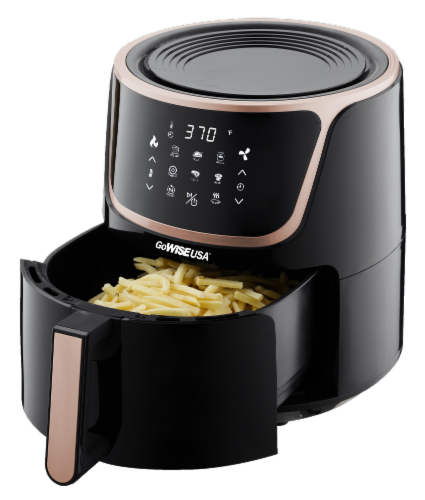 GoWISE USA 7-Quart Electric Air Fryer with Dehydrator, Black/Copper Perspective: top