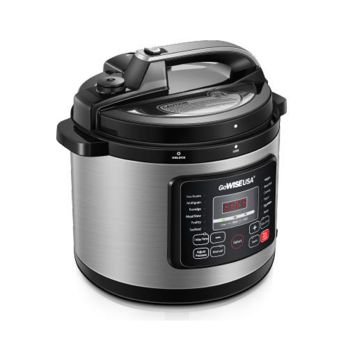 GoWISE USA 6-Quart 12-in-1 Multi-Use Programmable Pressure Cooker, Stainless Steel Perspective: top