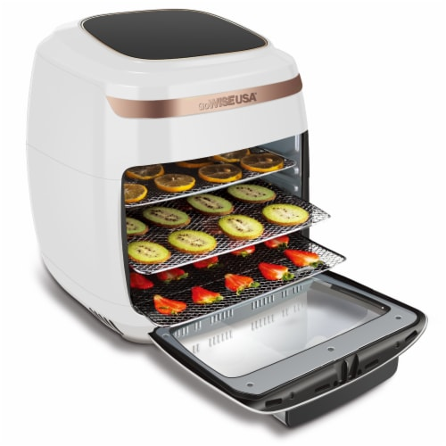 GoWISE USA 11.6-Quart Air Fryer Toaster Oven, Vibe, White/Rose Gold Perspective: top
