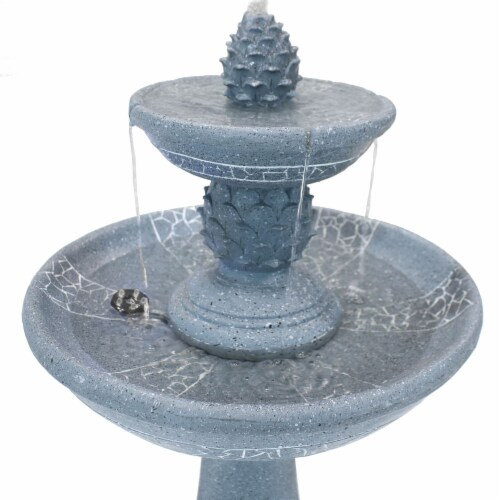 """Sunnydaze Dual Pineapple Solar Outdoor Water Fountain with Battery 34"""" with LED Perspective: top"""