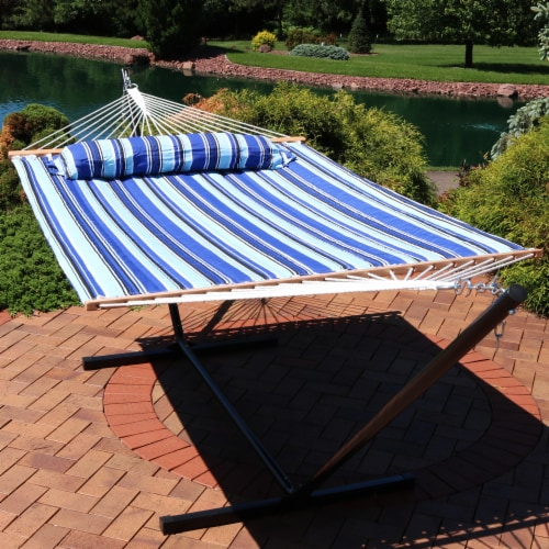 Sunnydaze 2-Person Quilted Spreader Bar Hammock Bed and Pillow - Catalina Beach Perspective: top