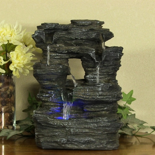 Sunnydaze Five Stream Rock Cavern Tabletop Fountain with Multi Colored LED Light Perspective: top