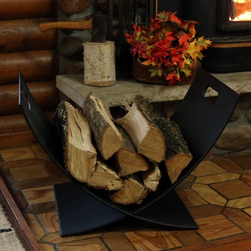 "Sunnydaze Log Rack 30"" Black Steel Holder Firewood Storage Fireplace Accessory Perspective: top"