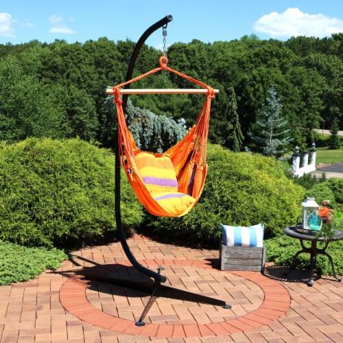 Sunnydaze Indoor-Outdoor Hammock Chair Swing and C-Stand Set - Summer Breeze Perspective: top