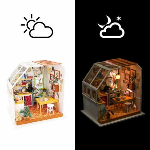 Hands Craft DIY 3D Wooden Puzzles - Miniature House: Jason's Kitchen Perspective: top
