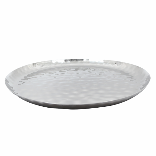 """Full Polished Stainless Steel 14"""" Round Service Tray Perspective: top"""