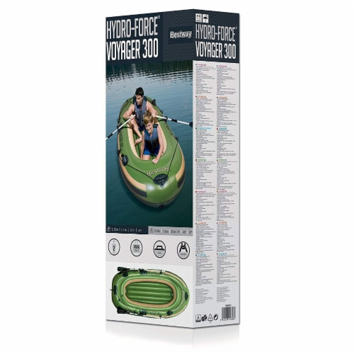 """Bestway Hydro Force Voyager 300 96"""" Inflatable River Boat w/ Aluminum Raft Oars Perspective: top"""