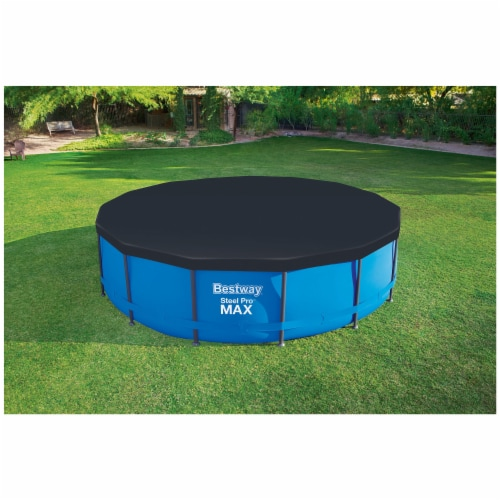 Flowclear 15 Foot Round Steel Pro MAXTM Above Ground Swimming Pool Cover, Black Perspective: top
