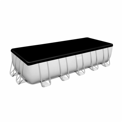 Bestway 21 Ft x 9 Ft x 52 In Power Steel Frame Above Ground Swimming Pool Set Perspective: top