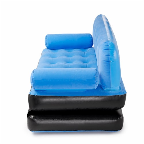 Bestway Multi Max Inflatable Air Couch or Double Bed with AC Air Pump, Blue Perspective: top