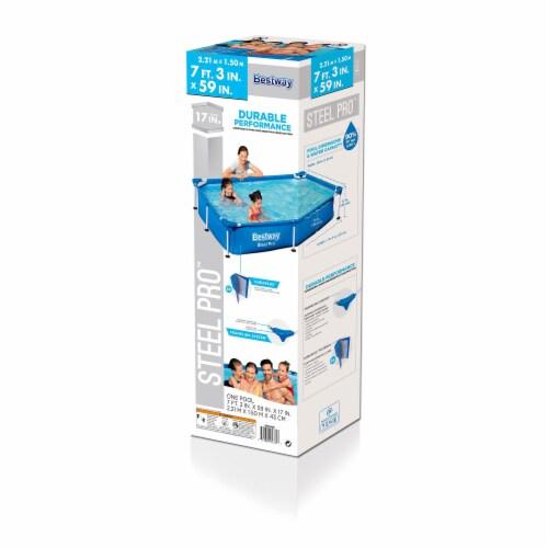 Bestway Steel Pro 7.25 x 4.9 x 1.4 Ft Rectangular Above Ground Kids Swimming Pool Perspective: top