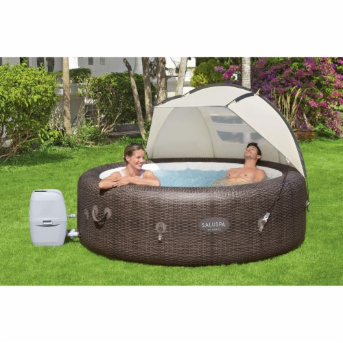 Bestway 60304 Small Sun Shade Canopy Accessory for Round Inflatable Hot Tub Spas Perspective: top