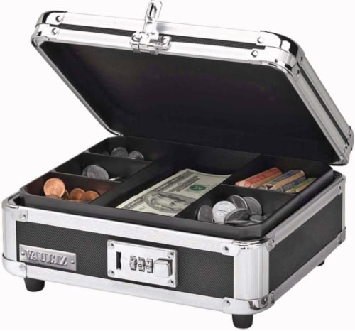 Vaultz Locking Cash Box - Black/Silver Perspective: top