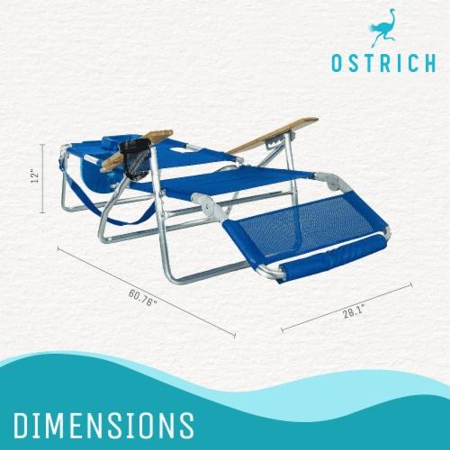 Ostrich 3 N 1 Lightweight Aluminum Frame 5 Position Reclining Beach Chair, Blue Perspective: top