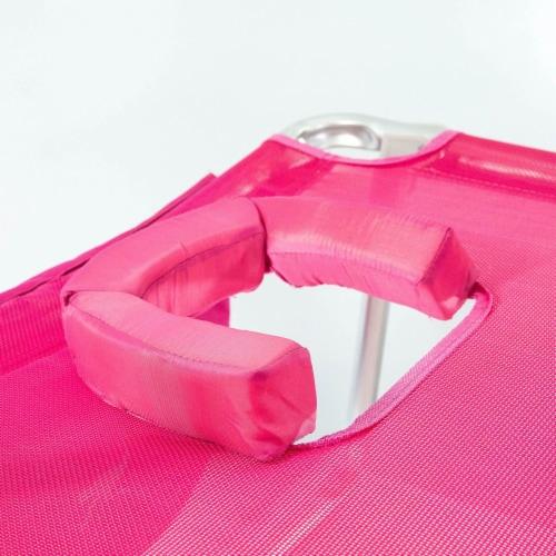 Ostrich 3 N 1 Lightweight Aluminum Frame 5 Position Reclining Beach Chair, Pink Perspective: top