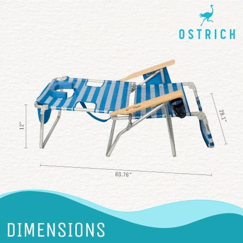 Ostrich 3 N 1 Lightweight Aluminum 5 Position Reclining Beach Chair, Striped Perspective: top