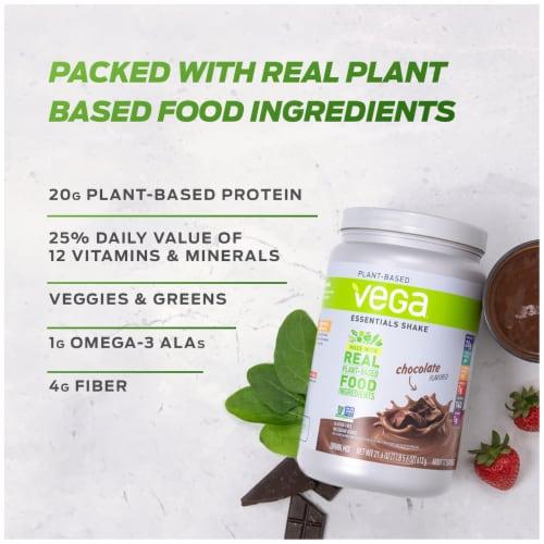 Vega Essentials Shake Plant-Based Vanilla Protein Drink Mix Powder Perspective: top