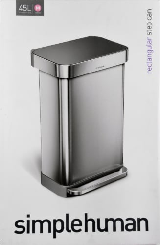 simplehuman Rectangular Step Can with Lid - Stainless Steel Perspective: top