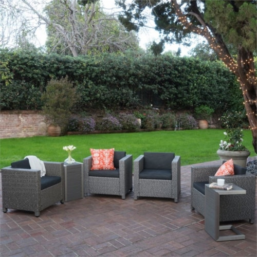 Noble House Puerta 6 Piece Outdoor Wicker Chair and Blended Wood Table Set Perspective: top
