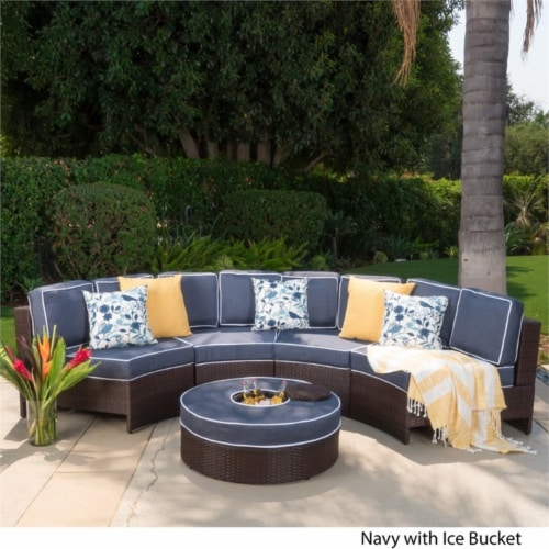 Noble House Madras Saint Luca 5 Piece Outdoor Wicker Sectional Sofa Set in Navy Perspective: top