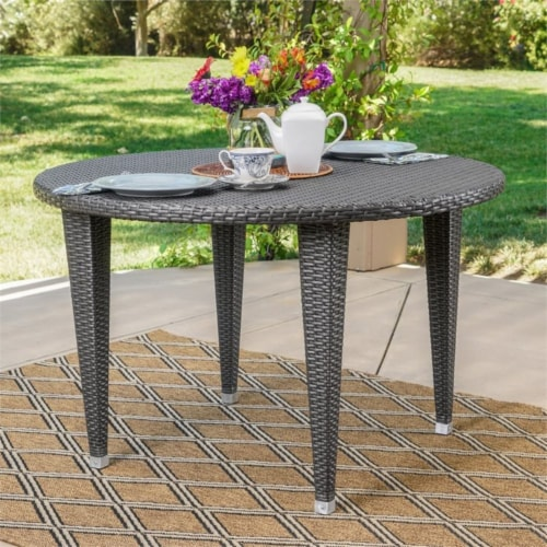 Noble House Mussel Rock 5 Piece Outdoor Wicker Dining Set in Gray Perspective: top
