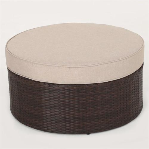 Noble House Madras Zanzibar 6 Piece Outdoor Wicker Sectional Sofa Set in Beige Perspective: top