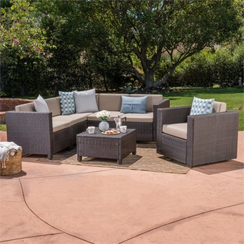 Puerta 6 Seater Wicker V-Shaped Sofa and Swivel Chair Set - Beige Cushions Perspective: top